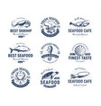 seafood logo set sea creatures fishing or vector image vector image
