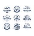 seafood logo set sea creatures fishing vector image