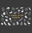 set of tropical summer hawaiian plants flamingo vector image vector image