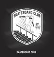 skateboard club sign on chalkboard vector image