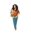 stylish young mother holding baby fashionable vector image