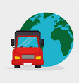 truck transport globel worldwide vector image