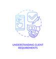 Understanding client requirements concept icon