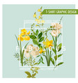 vintage summer and spring flowers graphic design vector image vector image