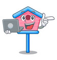 with laptop cartoon little bird house in spring vector image