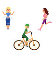 woman engaged in sports and active rest set vector image vector image