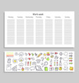 work week daily plan and icons vector image vector image