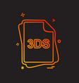3ds file type icon design vector image