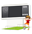 a boy playing soccer at court vector image