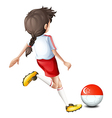 A female athlete kicking the ball with the flag of vector image vector image