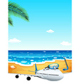 A passenger plane at the beach vector image vector image