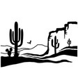american desert with cactuses black silhouette vector image vector image