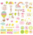 Baby Boy Giraffe Scrapbook Set Baby Tags vector image vector image