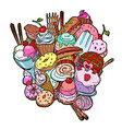 baking sweets delicious food birthday isolate on vector image