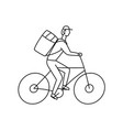 bicycle courier linear on vector image