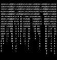 binary code zero one matrix black background vector image