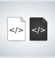 black and white coding file icon isolated on vector image