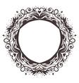 Black round floral frame ornament vector image