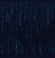 blue hex random data stream matrix numbers big vector image vector image