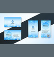 blue hexagonal medical style business card vector image vector image