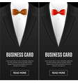 business card bow tie set vector image vector image