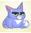 cartoon of grumpy blue cat vector image