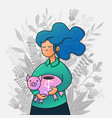 cartoon style young girl holding piggy bank vector image