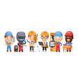 cartoon worker characters with different vector image vector image
