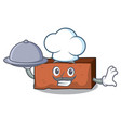 chef with food brick mascot cartoon style vector image vector image