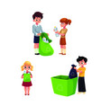 children collect rubbish garbage for recycling vector image vector image
