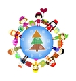 Christmas kids background Children in planet vector image