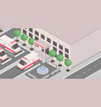 clinic exterior isometric 3d vector image vector image