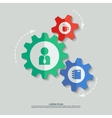 color cogwheels with man cup notepad icons vector image