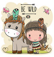 cute cartoon tribal girl and horse with feather vector image vector image