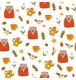 cute seamless pattern with funny cute hedgehogs in vector image vector image