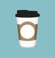 disposable coffee cup icon on blue background vector image