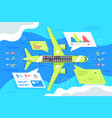 flat airplane infographics with passenger and vector image