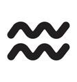 flat black aquarius sign icon vector image vector image