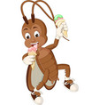 funny brown cockroach eating two ice cream cartoon vector image vector image