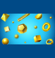 golden abstract 3d geometric shapes shiny gold vector image
