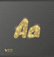 golden shiny letter a on a transparent background vector image