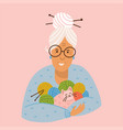 granny doing knitwork gray-haired grandmother vector image