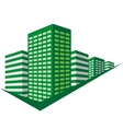 Green sign with skyscrapers vector image vector image