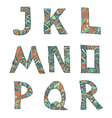 Hand drawn artistic font from lines letters J-R vector image vector image