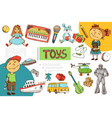 hand drawn children toys composition vector image vector image