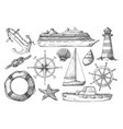 hand drawn marine sketch nautical item isolated vector image