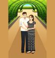 happy couple in park vector image vector image
