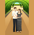 happy couple in the park vector image