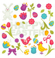happy easter holiday greeting card bunny and eggs vector image