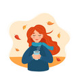 hello autumn cute girl holding a cup with autumn vector image vector image